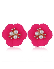 Fashion Rose Red Flower Pearl Earrings
