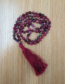 Fashion Wine Red Natural Stone Agate Beaded Buddha Head Necklace