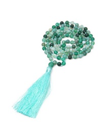 Fashion Green Agate Stone Natural Beaded Tassel Necklace