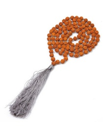 Fashion Gray 4mm Natural Bodhi Wood Beads Semi-precious Stones Necklace