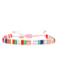 Fashion Pink Rope Woven Rice Beads Bracelet