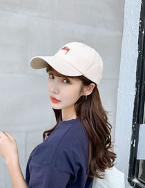 Fashion Beige Embroidered Letter Baseball Cap