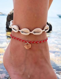 Fashion Gold Winding Red Rope Shell Alloy Anklet