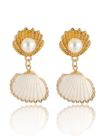Fashion Gold Shell With Gold-rimmed Pearl Earrings