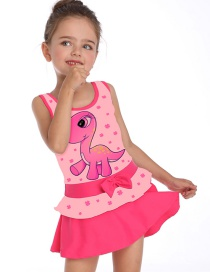 Fashion Pink Dinosaur Print Flamingo Skirt Children's Swimsuit