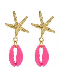 Fashion Red Alloy Shell Starfish Earrings