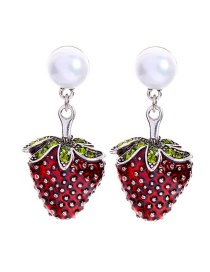 Fashion Red Pearl Drops Strawberry Stud Earrings