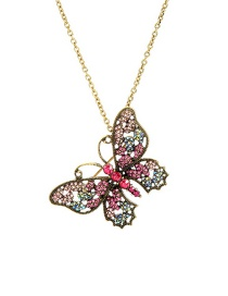 Fashion Gold Butterfly-encrusted Necklace With Detachable Brooch