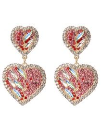 Fashion Red Heart-shaped Diamond Stud Earrings