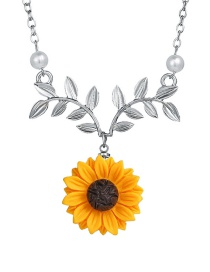 Fashion Silver Sunflower Leaf Flower Necklace