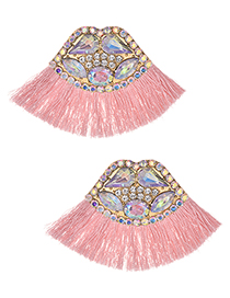 Fashion Ab Color + Pink Alloy Studded Lips Tassel Earrings