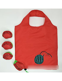 Fashion Watermelon Polyester Folded Fruit Green Bag Shopping Bag