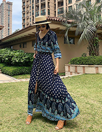 Fashion Black Cashew Flower Blue And White Porcelain Print Dress