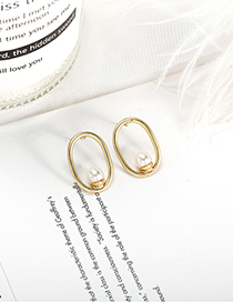 Fashion A款 Metal Pearl Multi-deformation Earrings