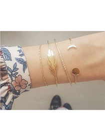 Fashion Gold Alloy Leaf Bracelet Set