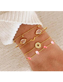 Fashion Gold Alloy Water Drop Drill Round Bracelet Set