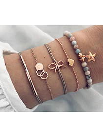 Fashion Gold Alloy Wax Rope Bow Five-pointed Star Bracelet Set
