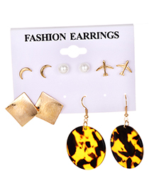 Fashion Gold Alloy Resin Earrings Set