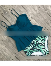 Fashion Green Top + Leaf Bottoms Printed Sling High Waist Two-piece Split Swimsuit