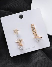 Fashion Gold 925 Silver Needle Star Zircon Planet Three-piece Earrings