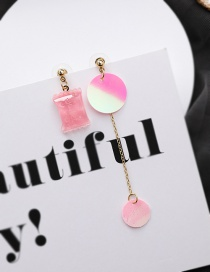 Fashion Pink Square Candy Sequin Tassel Asymmetric Earrings