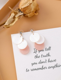 Fashion White Contrast Color Love Shell Su Round Piece Color Earrings