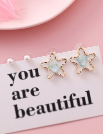 Fashion Green S925 Silver Needle Star Shell Sequin Pearl Earrings Four-piece