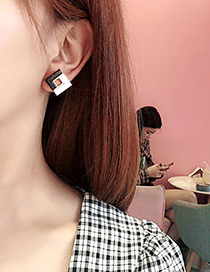Fashion Black And White Contrast Stitching Square Earrings