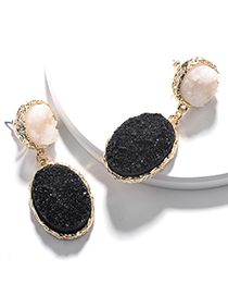 Fashion Black Alloy Resin Crystal Tooth Oval Drop-shaped Earrings