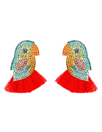 Fashion Red Diamond Acrylic Parrot Bird Earrings