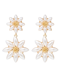 Fashion White S925 Silver Pin Double Pearl Flower Earrings