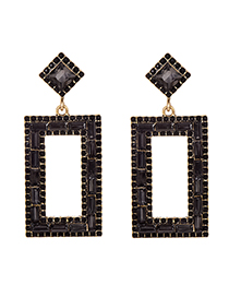 Fashion Black Alloy Studded Rectangular Stud Earrings