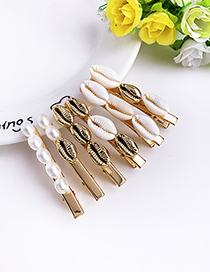 Fashion Gold Alloy Pearl Shell Duckbill Clip Set