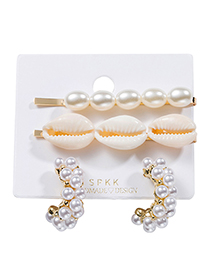 Fashion White Alloy Pearl Shell Hairpin Stud Earring Set