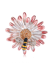 Fashion Pink Alloy Flower Bee Brooch