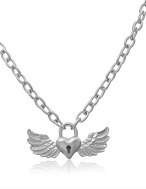 Fashion White K Single-layer Metal Heart-shaped Wing Hollow Lock Necklace