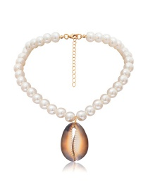 Fashion Gold Beaded Geometric Irregular Pearl Shell Multi-layer Necklace