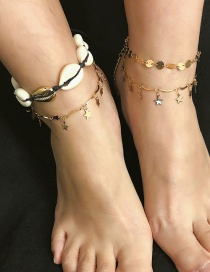 Fashion Gold Geometric Metal Sequin Shell Five-pointed Star Anklet