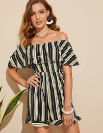 Fashion Stripe Striped Printed One-neck Jumpsuit