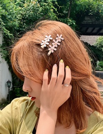 Fashion Cherry Blossom Powder (three Flowers) Small Flower Glazed Metal Hair Clip