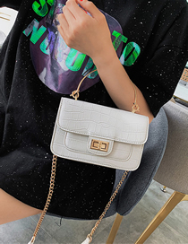 Fashion White Stone Pattern Crossbody Shoulder Chain Bag