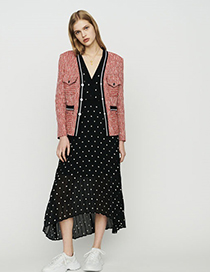 Fashion Red Tweed Texture Coat