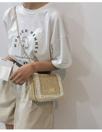 Fashion Khaki Pearl Straw Shoulder Messenger Bag