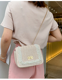 Fashion Creamy-white Pearl Straw Shoulder Messenger Bag
