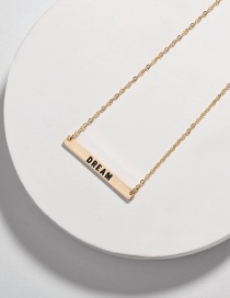 Fashion Dream Alloy Letter Smudged Rectangular Necklace