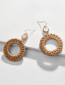 Fashion Khaki Rattan Openwork Round Earrings