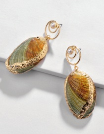 Fashion Color Natural Gilt Edge Conch Alloy Earrings
