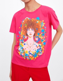 Fashion Red Front Print T-shirt