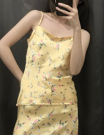 Fashion Yellow Satin Sling Top