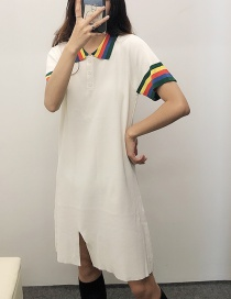 Fashion White Polo Collar Knit Dress